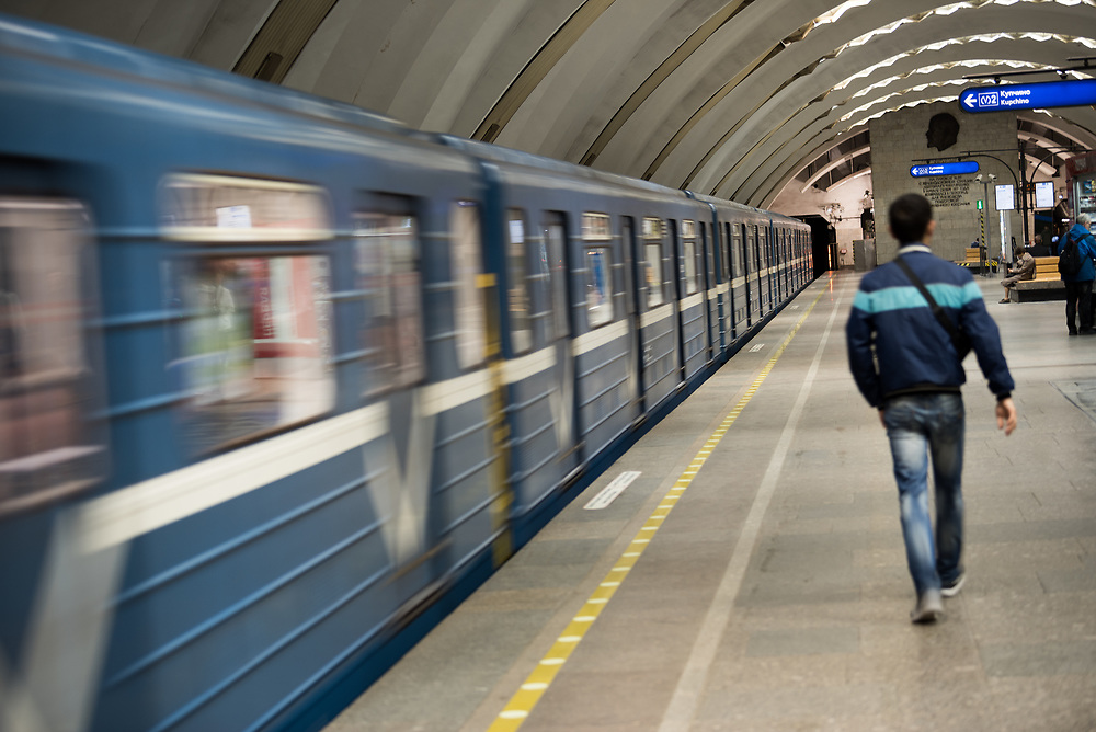 10 June 2017, Saint Petersburg, Russia. Metro Station. Russia's large cities are famous for their widespread Metro system running deep into the ground, with often distinctive decorations and ornamentation of the platforms.