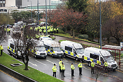 © Licensed to London News Pictures. 14/11/2015. Bradford, UK. An estimated 600 police officers including 40 vans & a mounted section where used today to police a handful of English Defence league members, even portaloo's where provided for the Extremist's who marched in Bradford today the day after 127 people died in the terror attacks in Paris.  Photo credit: Andrew McCaren/LNP