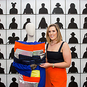 """18.05.2018.          <br /> More than 500 people attended the flagship event of the inaugural Unwrap LSAD Fashion Festival in Limerick.<br /> <br /> Graduate Heather O'Connor, Kilkenny is pictured with her Design, Linear Collection.<br /> <br /> The Limerick School of Art & Design, LIT, Fashion Design Graduate Exhibition and launch of the """"The Fashion Film"""" at Limerick City Gallery of Art, in partnership with EVA International, attracted hundreds of people from the world of fashion. <br /> <br /> A total of 27 fashion graduates presented their designs alongside the specially commissioned film by fashion stylist and creative director Kieran Kilgallon and videographer Albert Hooi. Picture: Alan Place"""