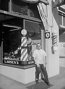 1006-A450. Larsen's Barber shop, 11 East 7th Ave., Eugene