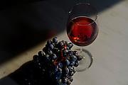 A grape used to produce vinho verde and a glass with vinho verde rosé.
