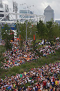 Crowds of spectators gather on grass in the Olympic Park to watch large tv screens of live sports coverage during the London 2012 Olympics. The planting of 4,000 trees, 300,000 wetland plants and more than 150,000 perennial plants plus  nectar-rich wildflower make for a colourful setting for the Games. This land was transformed to become a 2.5 Sq Km sporting complex, once industrial businesses and now the venue of eight venues including the main arena, Aquatics Centre and Velodrome plus the athletes' Olympic Village. After the Olympics, the park is to be known as Queen Elizabeth Olympic Park.