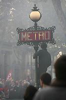 demonstration against the retrait reform legislation of the Sarkozy government,  Bd. Haussmann, Paris..Photograph by Owen Franken