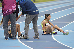 October 11, 2018 - Buenos Aires, Buenos Aires, Argentina - GOZEL CHOPANOVA of Turkmenistan, exhausted at the end of theWomen's 3000m Stage 1 on Day 5 of the Buenos Aires 2018 Youth Olympic Games at the Olympic Park. (Credit Image: © Patricio Murphy/ZUMA Wire)