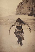 """Shamanic woman dancing in ceremony by a flowing river.<br /> :::<br /> """"Somewhere in the archives of crudest instinct is recorded the truth that it is better to be endangered and free than captive and comfortable."""" <br /> ― Tom Robbins"""