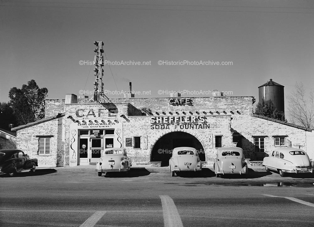 "0301-544C. ""Sheffler's Café, Soda Fountain, Greyhound Bus Depot"" (Salome, Arizona. building destroyed by fire in 2011)"