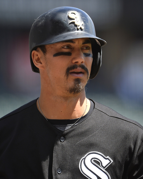 CHICAGO - APRIL 26:  Tyler Saladino #20 of the Chicago White Sox looks on against the Kansas City Royals on April 26, 2017 at Guaranteed Rate Field in Chicago, Illinois.  The White Sox defeated the Royals 5-2.  (Photo by Ron Vesely)   Subject:  Tyler Saladino