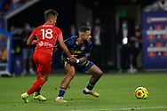 Memphis DEPAY of Lyon and Adrian Andrès CUBAS of Nimes during the French championship Ligue 1 football match between Olympique Lyonnais and Nimes Olympique on September 18, 2020 at Groupama stadium in Decines-Charpieu near Lyon, France - Photo Romain Biard / Isports / ProSportsImages / DPPI