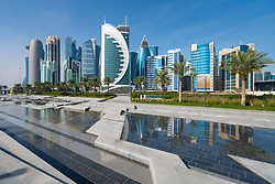 Daytime Skyline view of West Bay business district in Doha, Qatar