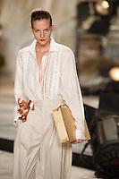 Sara Blomqvist wearing Isaac Mizrahi Spring 2010 collection during Mercedes-Benz Fashion Week in New York, September 17, 2009