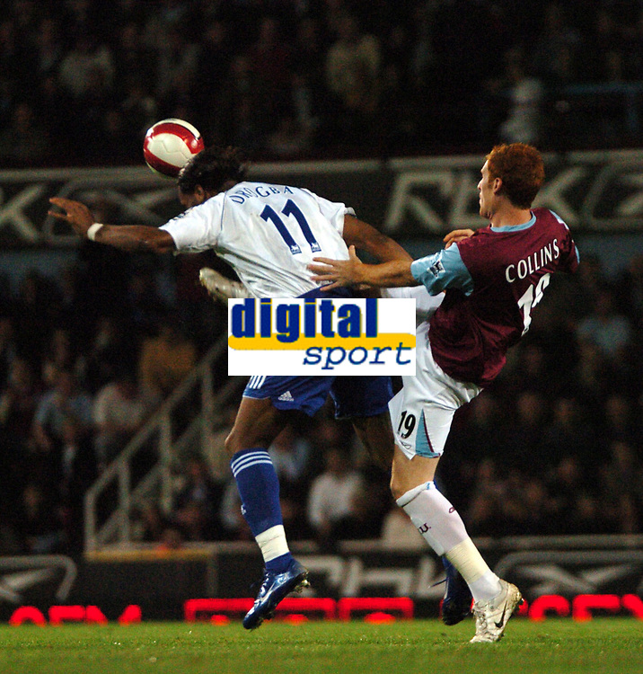 Photo: Tony Oudot.<br /> West Ham United v Chelsea. The Barclays Premiership. 18/04/2007.<br /> Didier Drogba of Chelsea is fouled by James Collins of West Ham