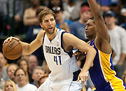 Dirk Nowitzki (41) of the Dallas Mavericks posts up against Metta World Peace (15) of the Los Angeles Lakers at the American Airlines Center in Dallas on Sunday, February 24, 2013. (Cooper Neill/The Dallas Morning News)