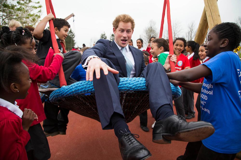 04.04.14 Prince Harry Visit to open the Queen Elizabeth Park. David Poultney for the LLDC