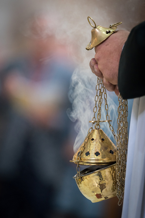 20 April 2019, Jerusalem: Incense forms an integral part of the rituals of Easter Sunday service at the Cathedral Church of Saint George the Martyr, Jerusalem.