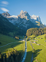 Aerial View of Swiss Glacier and river in summer in Grindelwald, Switzerland