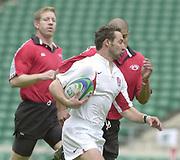 24/05/2002<br /> Sport - Rugby Union<br /> IRB World Sevens Series - Twickenham<br /> England vs Canada - Pool B<br /> Ben Gollings, runs in for a try.<br />    [Mandatory Credit, Peter Spurier/ Intersport Images]<br />    [Mandatory Credit, Peter Spurier/ Intersport Images]