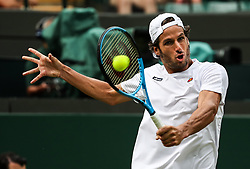 LONDON, July 6, 2018  Feliciano Lopez of Spain hits a return during the men's singles second round match against Juan Martin Del Potro of Argentina at the Wimbledon Championships 2018 in London, Britain, on July 5, 2018. Juan Martin Del Potro won 3-0. (Credit Image: © Tang Shi/Xinhua via ZUMA Wire)