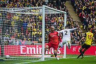 GOAL: Matt Doherty (Wolverhampton Wanderers) scores a goal to give Wolves the lead 0-1 during the FA Cup semi-final match between Watford and Wolverhampton Wanderers at Wembley Stadium in London, England on 7 April 2019.