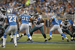 DETROIT - SEPTEMBER 19: Offensive lineman Nick Cole #59 of the Philadelphia Eagles blocks during the game against the Detroit Lions on September 19, 2010 at Ford Field in Detroit, Michigan. (Photo by Drew Hallowell/Getty Images)  *** Local Caption *** Nick Cole