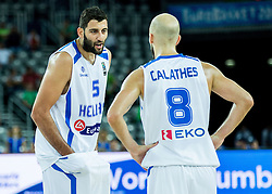 Yannis Bourousis of Greece and Nick Calathes of Greece during basketball match between Slovenia vs Greece at Day 5 in Group C of FIBA Europe Eurobasket 2015, on September 9, 2015, in Arena Zagreb, Croatia. Photo by Vid Ponikvar / Sportida