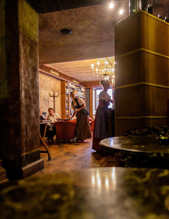 RIGA, LATVIA - CIRCA MAY 2014: Interior view of the famous Black Magic Riga bar in Old Town