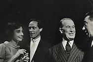Audrey Hepburn, Mel Ferrer, Maurice Chevalier and Fernandel in the late fifties.<br /> <br /> Audrey Hepburn , Mel Ferrer , Maurice Chevalier et Fernandel à la fin des années cinquante.