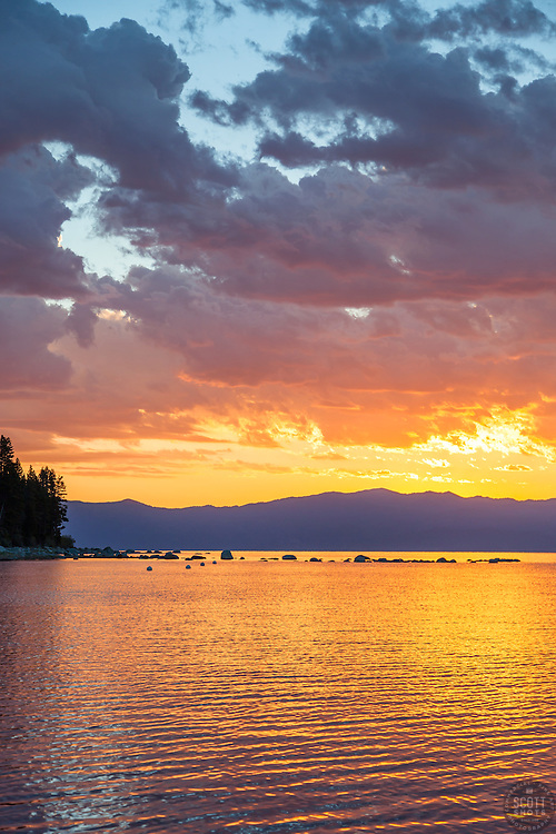"""""""Sunrise at Lake Tahoe 18"""" - Photograph of a vibrant sunrise shot from a small fishing boat during the annual Jakes on the Lake charity fishing derby."""