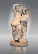 The God Apollo playing the Cithara ( Apollo Citharaodos) a 2nd century marble Roman sculpture from Miletus (Balat, Soke) Turkey. Istanbul Archaeology Museum, Inv 2000T Cat. Mendel 114. .<br /> <br /> If you prefer to buy from our ALAMY STOCK LIBRARY page at https://www.alamy.com/portfolio/paul-williams-funkystock/greco-roman-sculptures.html- Type -    Istanbul    - into LOWER SEARCH WITHIN GALLERY box - Refine search by adding a subject, place, background colour, museum etc.<br /> <br /> Visit our CLASSICAL WORLD HISTORIC SITES PHOTO COLLECTIONS for more photos to download or buy as wall art prints https://funkystock.photoshelter.com/gallery-collection/The-Romans-Art-Artefacts-Antiquities-Historic-Sites-Pictures-Images/C0000r2uLJJo9_s0c