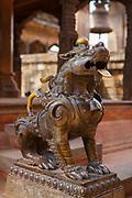 Bronze guardian lion statue, Durbar Square, Bhaktapur