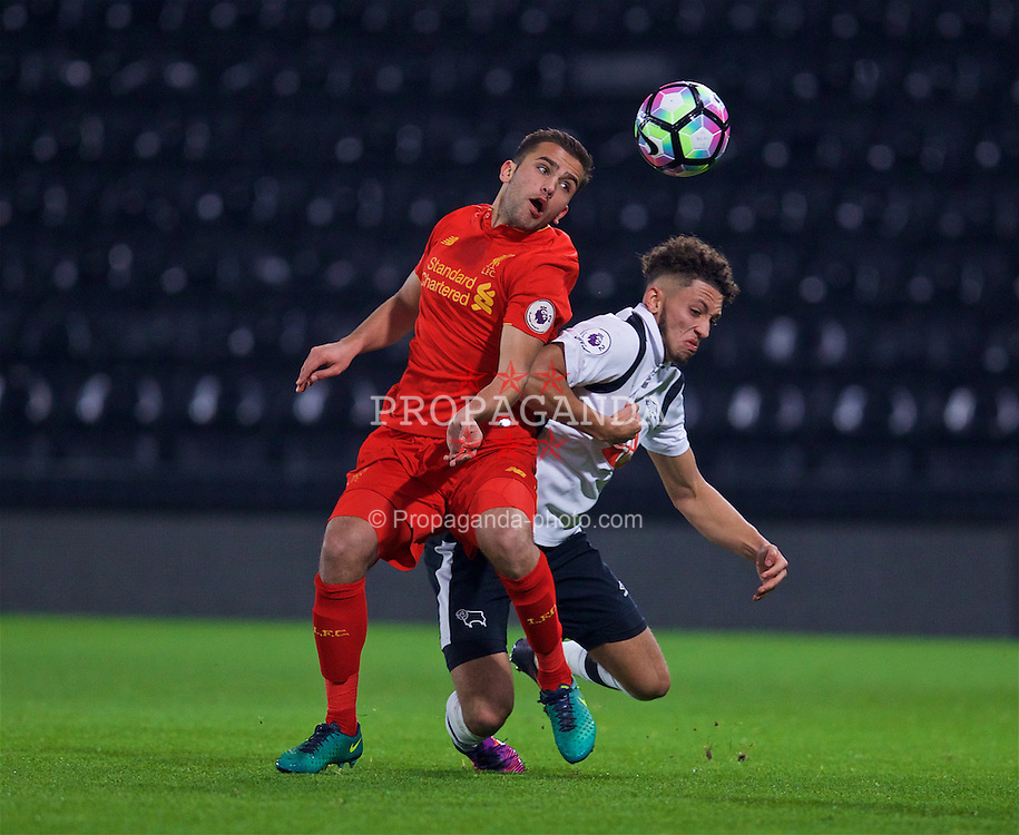 DERBY, ENGLAND - Monday, November 28, 2016: Liverpool's Juanma Garcia in action against Derby County during the FA Premier League 2 Under-23 match at Pride Park. (Pic by David Rawcliffe/Propaganda)