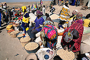 Peanut and grain sellers in Kouakourou Village, Mali, on Market day.