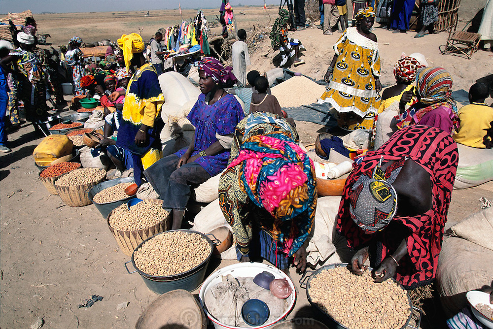 Peanut and grain sellers in Kouakourou Village, Mali, on Market day.