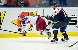 Sergei Mozyakin of Russia and Andrej Meszaros of Slovakia during Ice Hockey match between Slovakia and Russia at Day 10 in Group B of 2015 IIHF World Championship, on May 10, 2015 in CEZ Arena, Ostrava, Czech Republic. Photo by Vid Ponikvar / Sportida