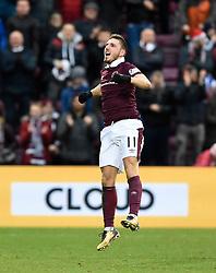 Hearts David Milinkovic celebrates scoring his side's third goal of the game during the Ladbrokes Scottish Premiership match at Tynecastle Stadium, Edinburgh.