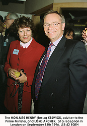 The HON.MRS HENRY (Tessa) KESWICK, adviser to the Prime Minister, and LORD ARCHER,  at a reception in London on September 18th 1996.LSB 42