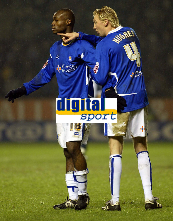 Photo: Chris Ratcliffe.<br /> Leicester City v Tottenham Hotspur. The FA Cup.<br /> 08/01/2006<br /> Leicester goalscorers Stephen Hughes and Elvis Hammond line up in a wall