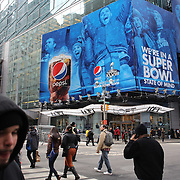 Super Bowl advertising in Times Square during Super Bowl week in New York. Times Square, New York, USA. 27th January 2014. Photo Tim Clayton