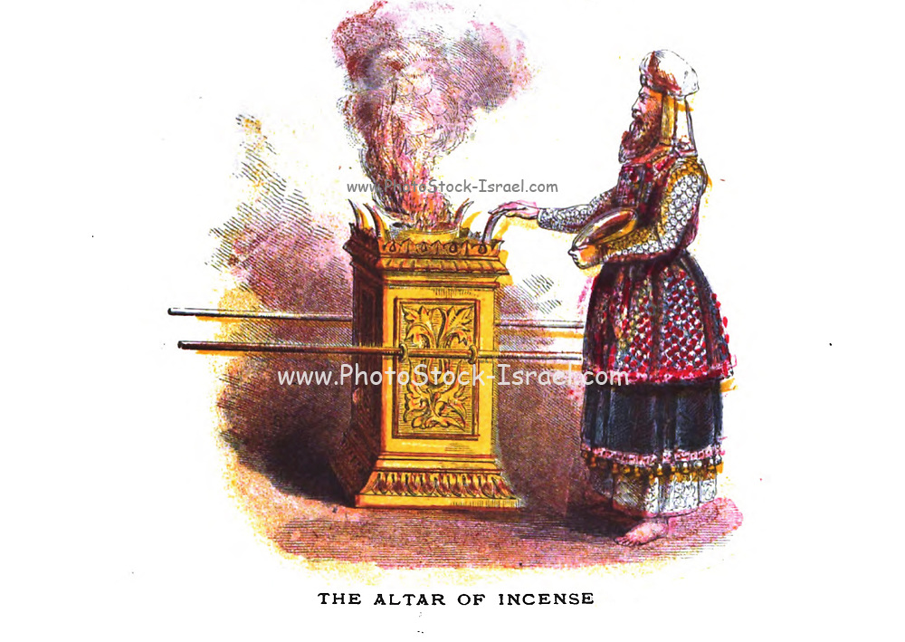 The Altar of incense From the book ' Pictorial Description Of The Tabernacle in the Wilderness: Its Rites and Ceremonies ' A detailed description and pictorial guide of the Tabernacle as described in the Old Testament book of Exodus in the Bible, containing many colored illustrated pictures. by John Dilworth. Published by The Sunday School Union, London in 1878