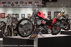 Skinny, Jeff Cochran's 1972 Harley-Davidson Shovelhead in a Speedking rigid frame in Michael Lichter's Skin & Bones tattoo inspired Motorcycles as Art show at the Buffalo Chip Gallery during the annual Sturgis Black Hills Motorcycle Rally. SD, USA. August 10, 2016. Photography ©2016 Michael Lichter.