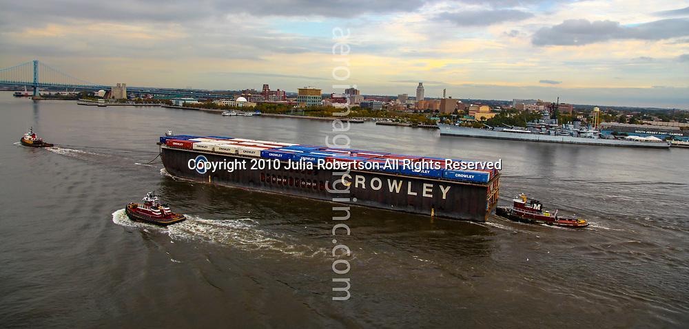 Aerial view of Crowley Container Cargo Ship El Conquistador outside of philadelphia in the Delaware River