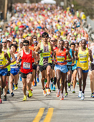 2013 Boston Marathon: front of the pack in mile one
