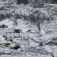 Ask 20210103. <br /> Stort jordskred har gått ved Ask i Gjerdrum. Flere boliger er tatt av skredet og flere personer er savnet. Over 1000 personer i området er evakuert.<br /> Foto: Tor Erik Schrøder / NTB