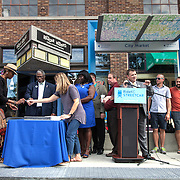 Rail Rally, Kansas City Streetcar construction, July 29, 2015. Mayor Sly James and members of City Council signing last piece of rail.
