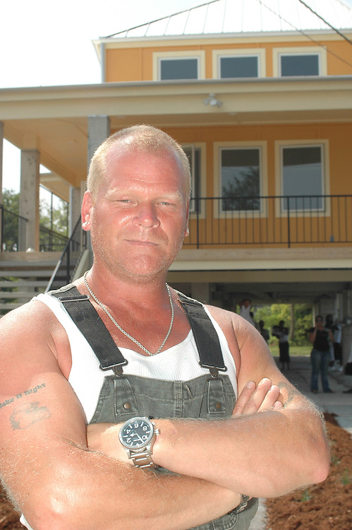 Mike Holmes stands outside one of the energy efficient and hurricane ready homes being built by Make It Right in New Orleans' Lower Ninth Ward.