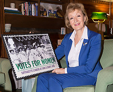 2018-02-05 SWNS-Royal Mail - Andrea Leadsom at commons with Suffragette stamp design