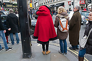 Like Little Red Riding Hood, an interesting take on the winter coat / cape in London, England, United Kingdom. (photo by Mike Kemp/In Pictures via Getty Images)