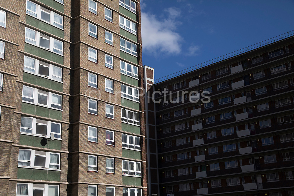 Council flats in central London, United Kingdom. Council estates like this are very common all over the capital, which is the most densely populated area in the UK.