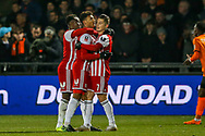 Goal 0-1 Brentford forward Ollie Watkins (11) scores a goal and celebrates during the The FA Cup fourth round match between Barnet and Brentford at The Hive Stadium, London, England on 28 January 2019.