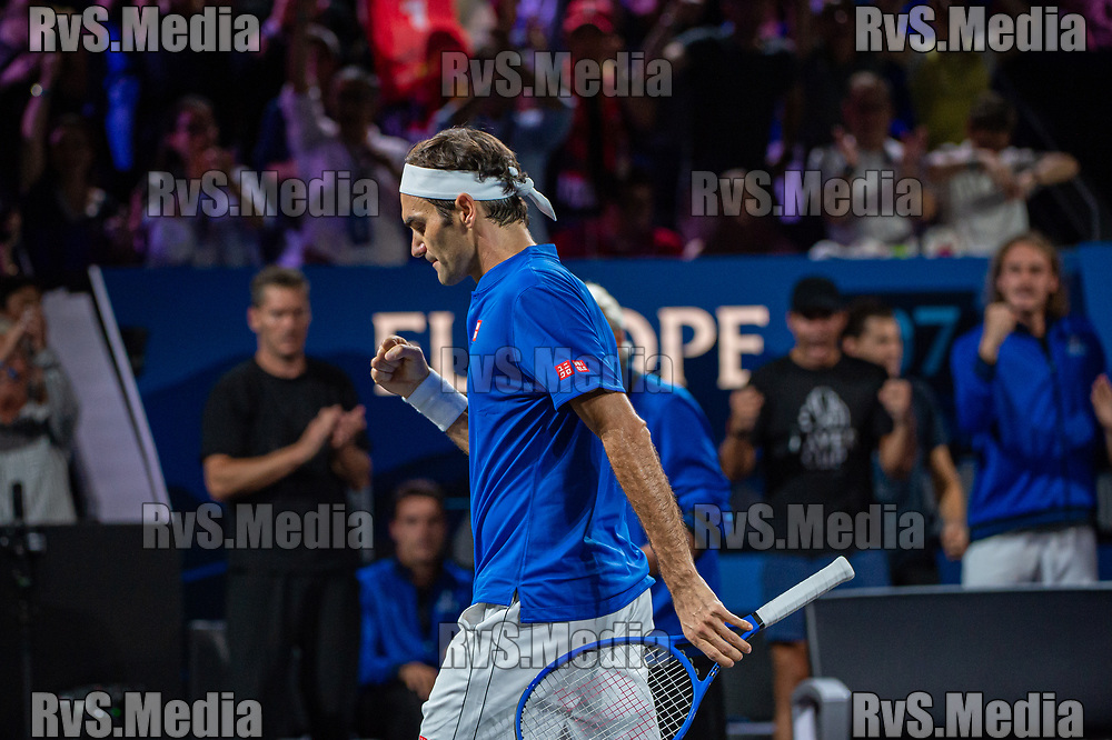 GENEVA, SWITZERLAND - SEPTEMBER 22: Roger Federer of Team Europe celebrates during Day 3 of the Laver Cup 2019 at Palexpo on September 20, 2019 in Geneva, Switzerland. The Laver Cup will see six players from the rest of the World competing against their counterparts from Europe. Team World is captained by John McEnroe and Team Europe is captained by Bjorn Borg. The tournament runs from September 20-22. (Photo by Robert Hradil/RvS.Media)