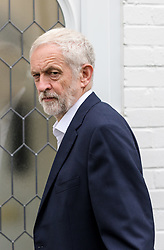 © Licensed to London News Pictures. 10/07/2019. London, UK. JEREMY CORBYN, the Labour Party leader leaves his north London home this morning. Yesterday, Mr Corbyn  said that the Labour Party will campaign to remain in the European Union if a second Brexit referendum is held under a Tory government.